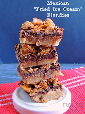 "These thick & soft Mexican ""Fried Ice Cream"" Blondies have a moist vanilla blondie layer covered in rich chocolate, and then topped with a crunchy cinnamon tossed corn flake layer."