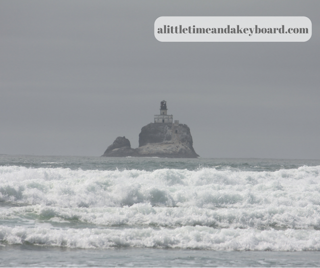 Tillamook Rock Lighthouse rises above the surf at Ecola State Park.