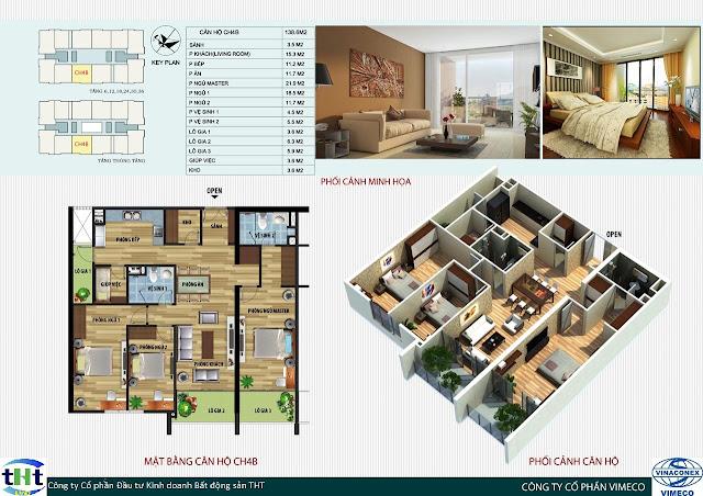 Mặt bằng căn 4B chung cư CT4 Vimeco