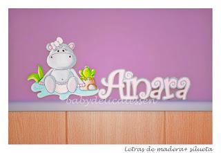 letras de madera infantiles para pared Ainara con silueta de hipopótamo babydelicatessen