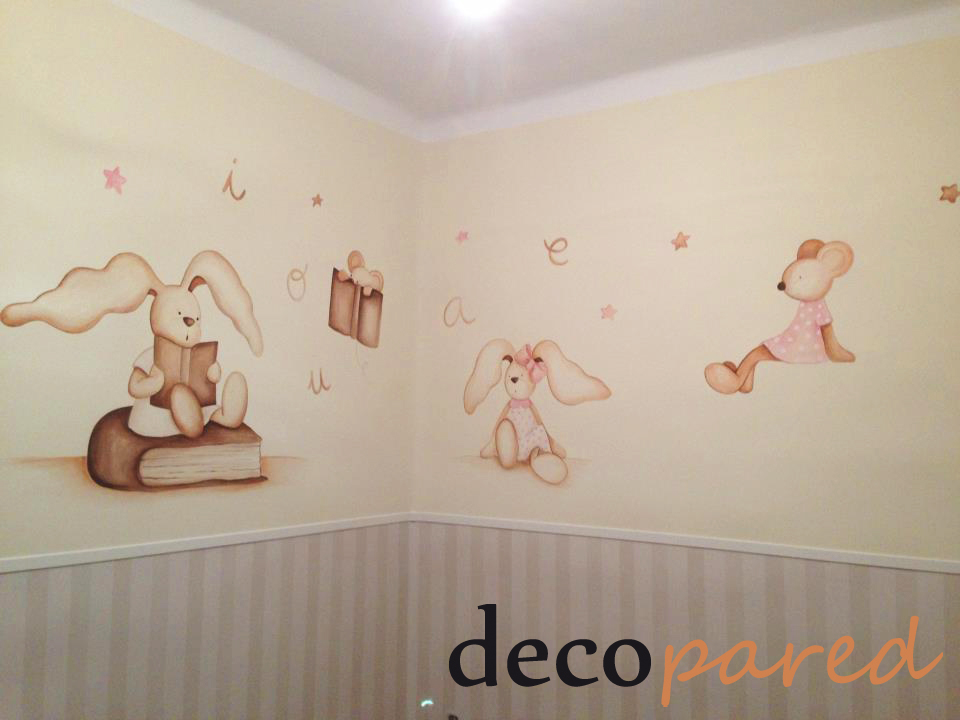 Decopared murales infantiles de ratoncitos y conejitos - Murales infantiles pintados a mano ...