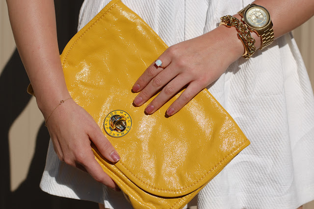 Vancouver fashion blogger,Marc by Marc Jacobs clutch and Michael Kors Watch.