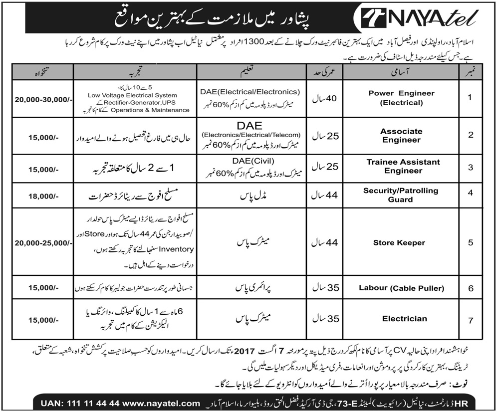 July 2017 all new vacancies news nayatel peshawar vacancies trainee assistant engineer power engineerelectrical associate engineers others apply online last date 7 august 2017 falaconquin