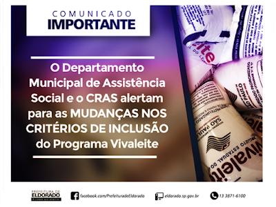Departamento Social de Eldorado alerta para as mudanças nos critérios de inclusão do Programa Vivaleite