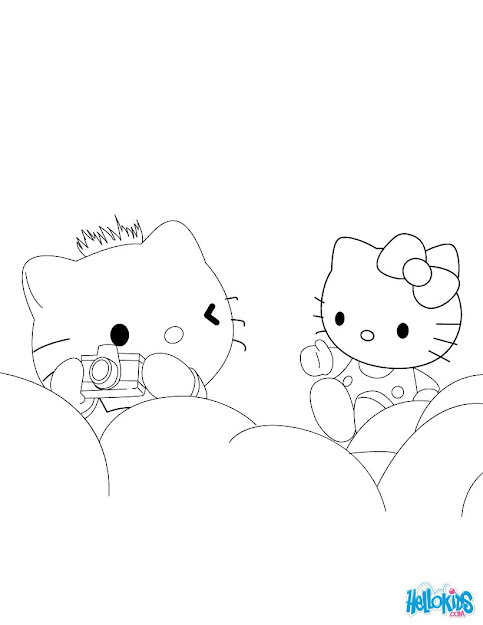 Hello Kitty Dancer Hello Kitty Photographer Coloring Page