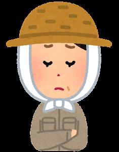 農家の女性のイラスト「悩んだ顔」