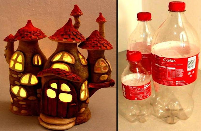 Recycling Some Plastic Bottles Into A Fairy House Lamp