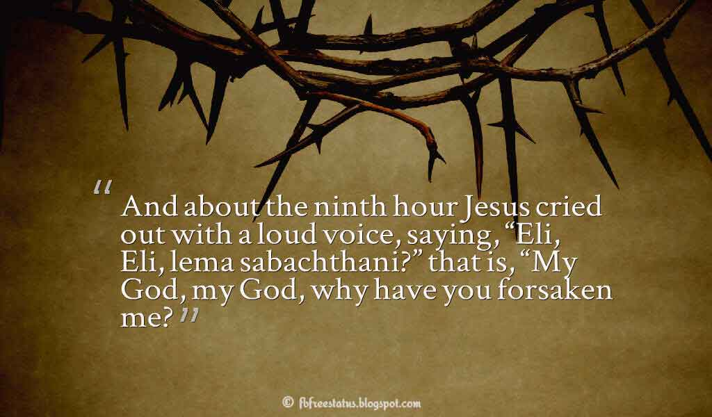 """And about the ninth hour Jesus cried out with a loud voice, saying, ""Eli, Eli, lema sabachthani?"" that is, ""My God, my God, why have you forsaken me?"" ― atthew 27:46 ,Quotes about good friday"