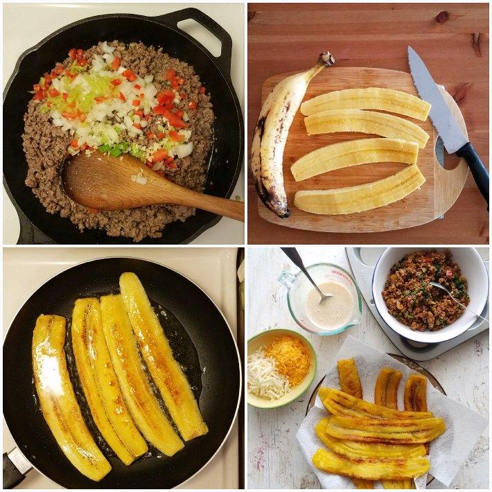Se prepara la carne molida, se fríen las tajas de plátano maduro, se prepara la mezcla de huevo y se engrasa un molde para muffins