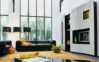 sala en amarillo y negro