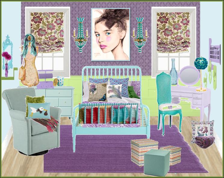 vintage blue and purple girls bedroom room design ideas. Black Bedroom Furniture Sets. Home Design Ideas