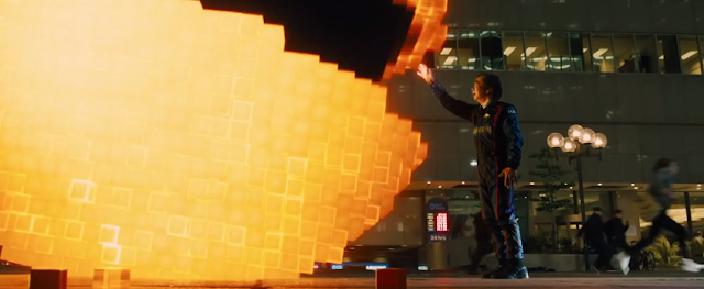 Pixels Pac-Man Toru Iwatani eat hand Professor movie film trailer