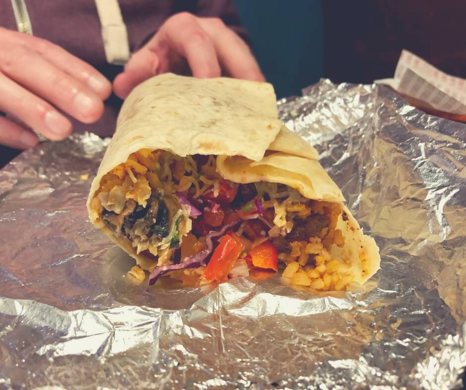 A steak burrito with brown rice, vegetables, mushrooms, steak, and salsa from Barburrito, Nottingham.