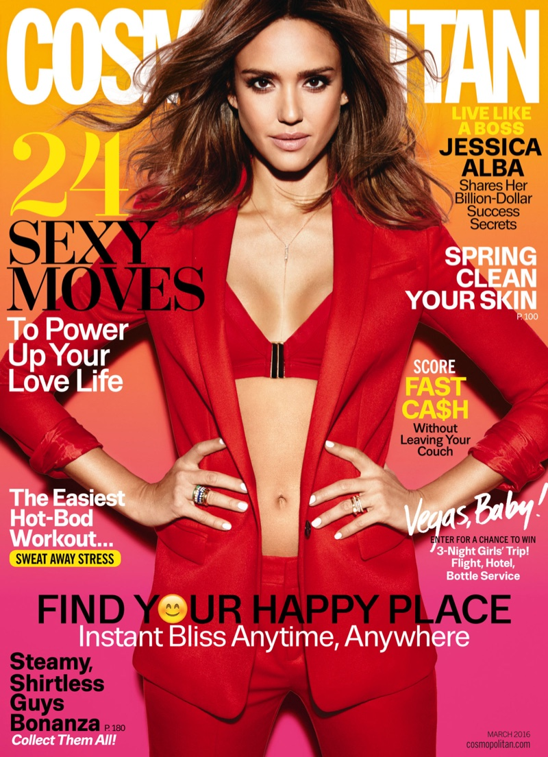 Jessica Alba is red hot for Cosmopolitan March 2016