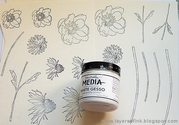 Layers of ink - Mixed Media Flower Canvas Tutorial by Anna-Karin with Sizzix Tim Holtz Flower Garden dies
