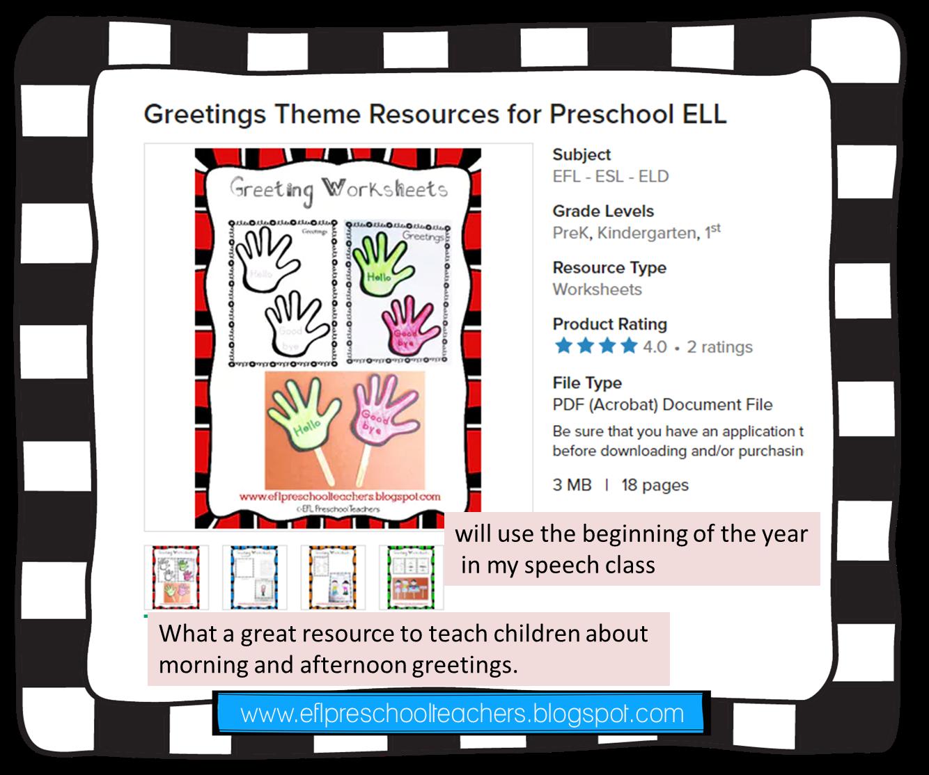Eslefl Preschool Teachers Greetings Theme Resources For Ell