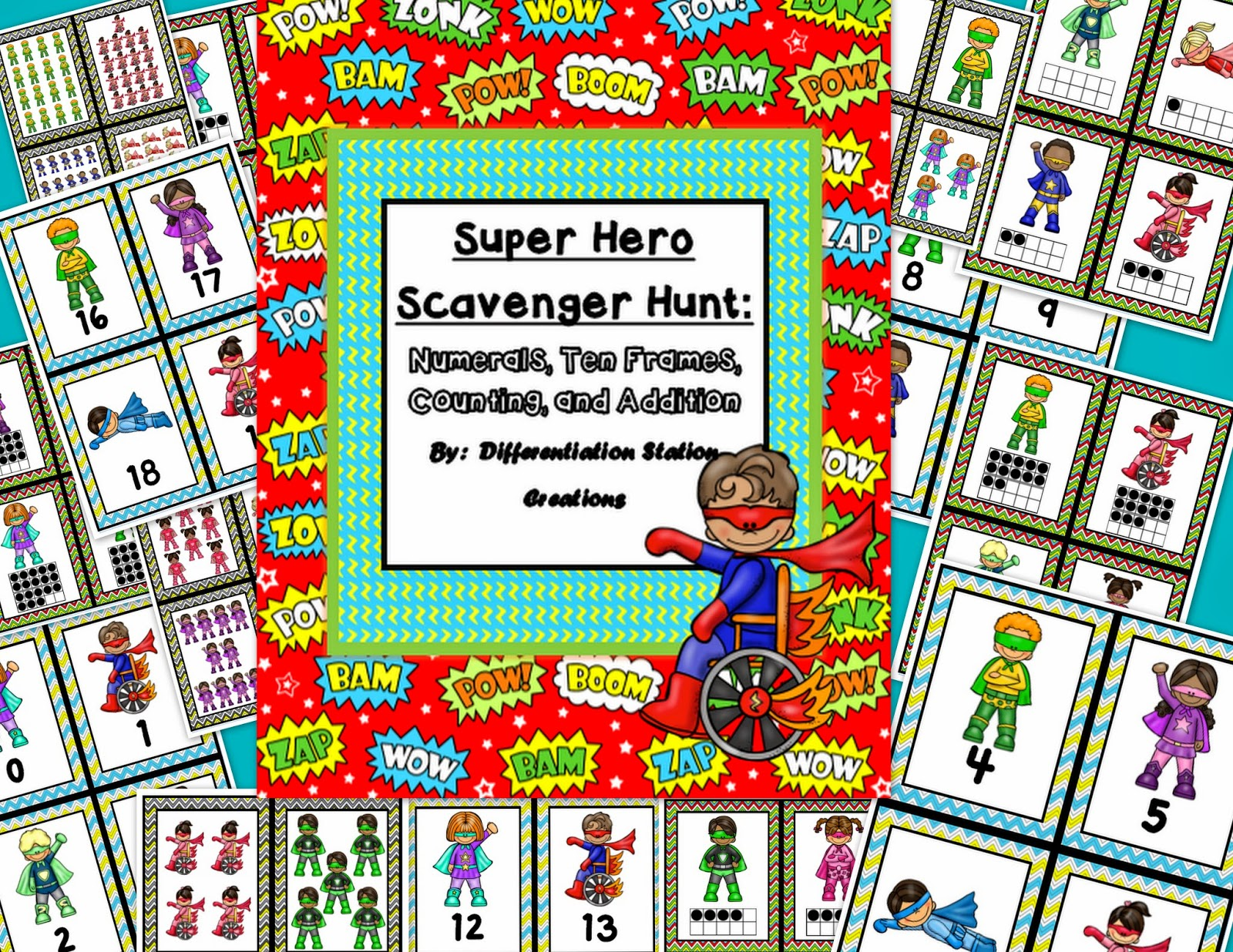 http://www.teacherspayteachers.com/Product/Super-Hero-Math-Scavenger-Hunt-Numerals-Ten-Frames-Counting-Cardinality-1168014