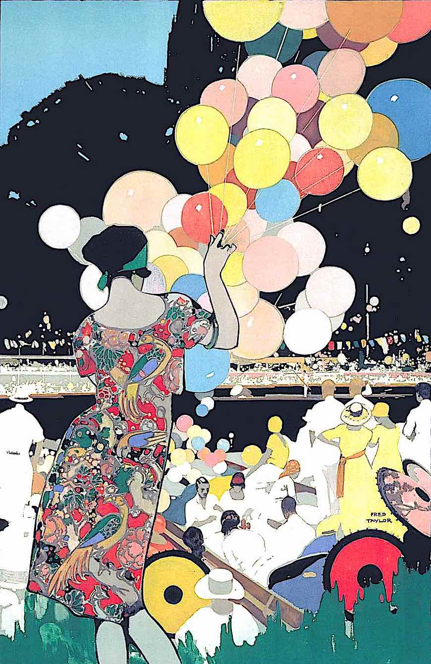 a Fred Taylor travel poster illustration 1922, woman with balloons at regatta