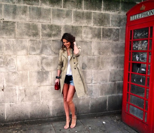 Trench coat, denim shorts & red Chanel bag