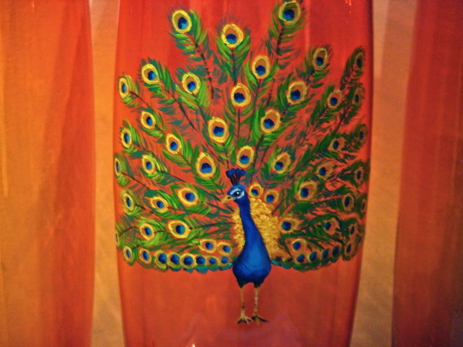 painted vase, peacock