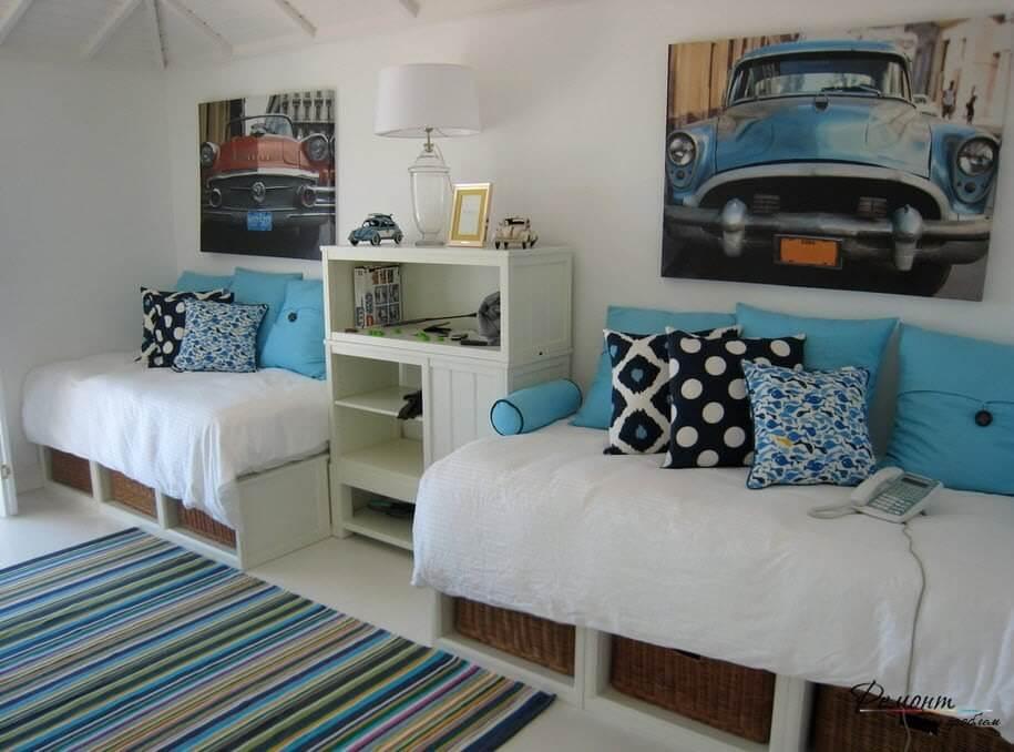 غرف نوم شبابية بسريرين