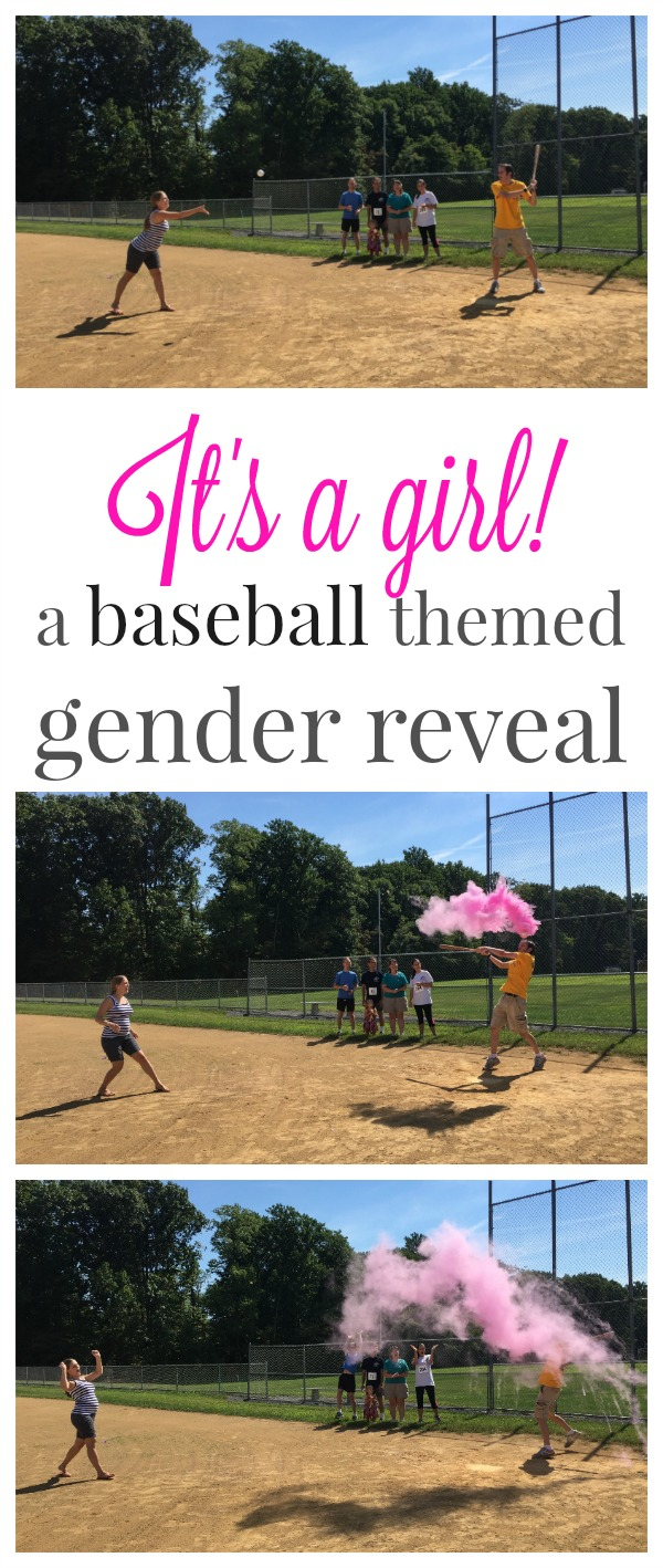 Its a girl! A baseball gender reveal. We used a breakable baseball filled with pink chalk to reveal to our family that we were pregnant with a little girl!