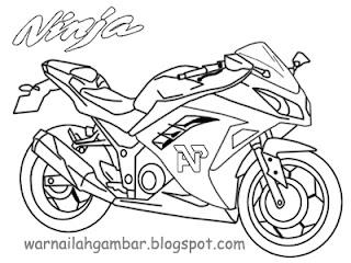 Contoh Gambar Mewarnai Motor Ninja Kataucap
