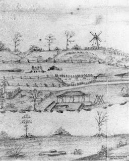 Moreton Bay Penal Settlement as seen from the south Brisbane riverbank. Sketch attributed to Henry W. Boucher Bowerman c.1835. (State Library of Queensland).