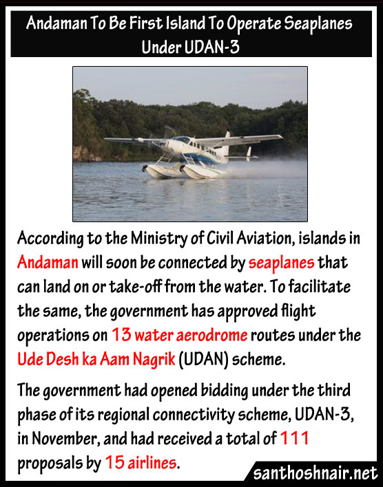 Andaman to be first Island to operate Seaplanes under UDAN-3