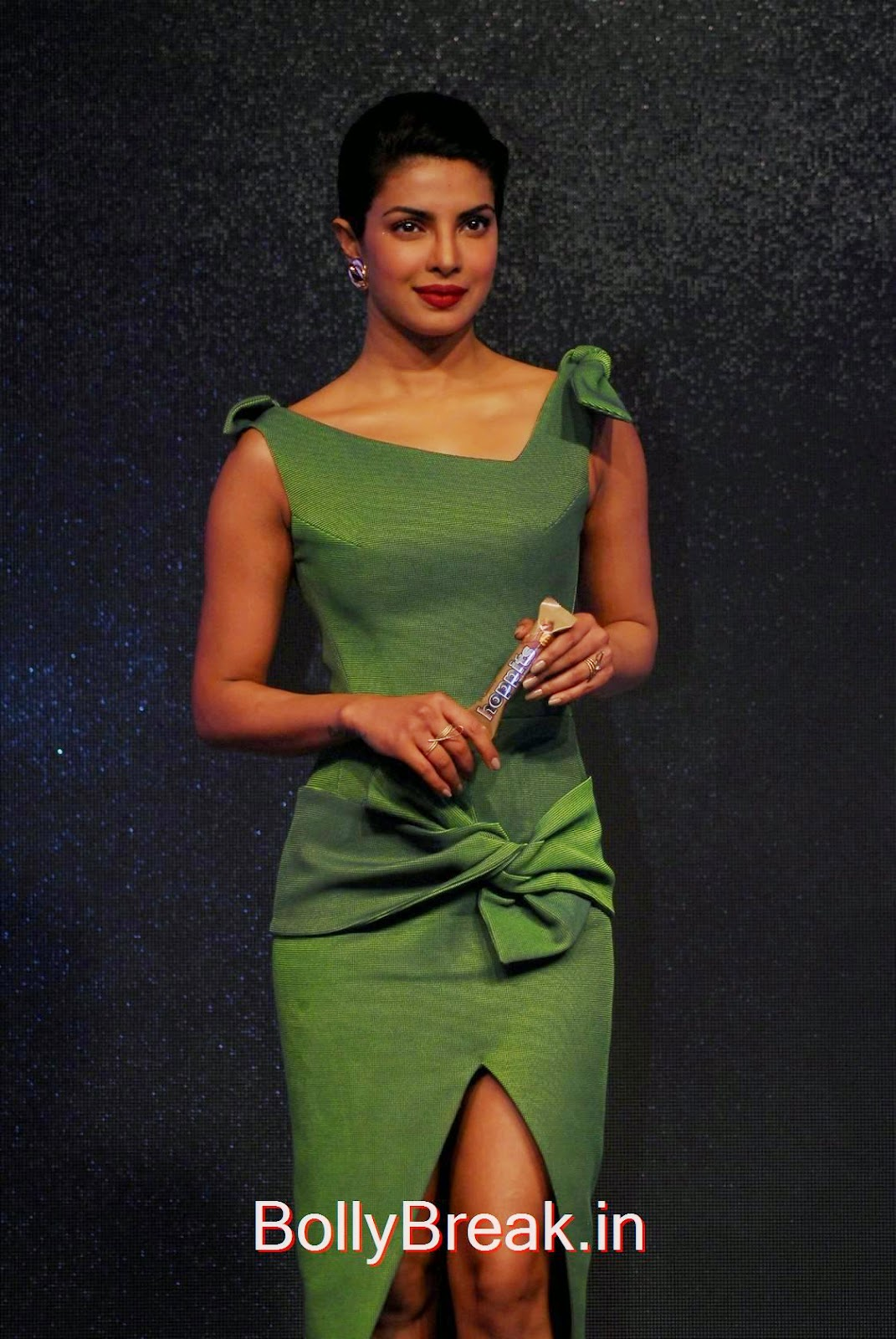 Priyanka Chopra Photos, Priyanka Chopra Hot Pics in green dress from Hoppit Chocolate Launch