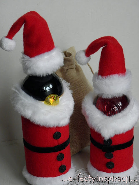 dekoracje na butelkę, pomysł na prezent, świąteczne podarki, jak uszyć, hand made, rękodzielnictwo, diy, e-fectyinspiracji