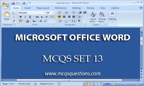 ms word mcqs set 13