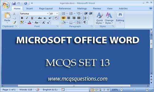ms word mcqs set 13