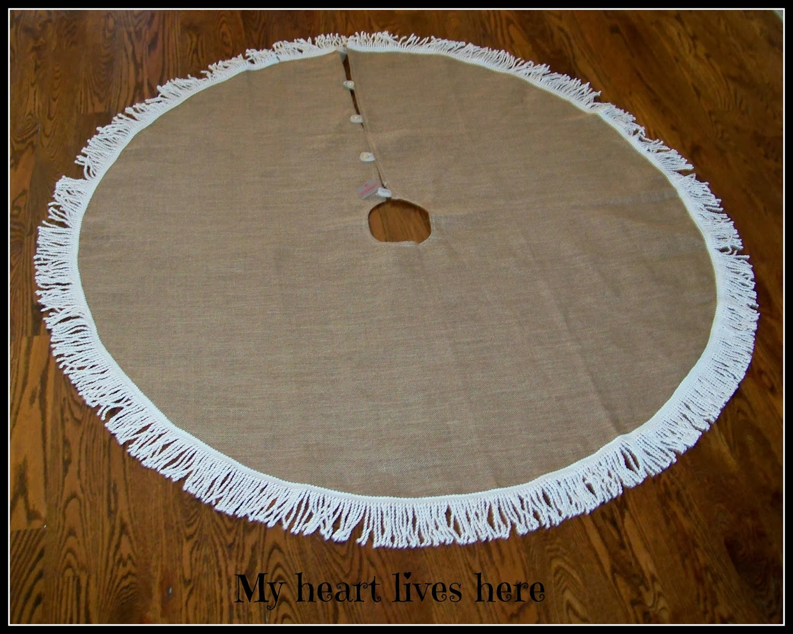 Burlap Christmas Tree Skirt With Fringe My Heart Lives Here