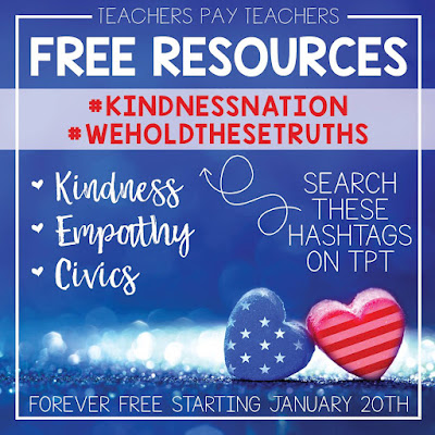 Spread Kindness Free Teaching Resources #kindnessnation #weholdthesetruths