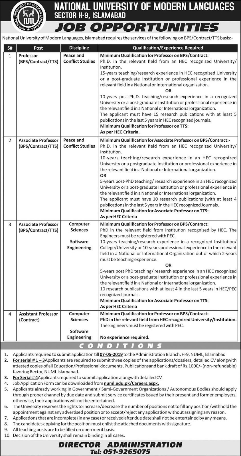 Advertisement for National University of Modern Languages Jobs