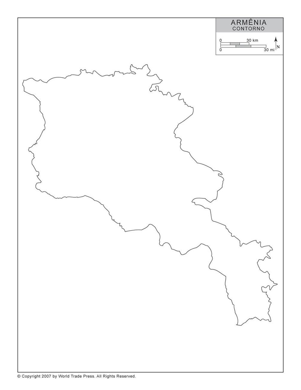 Mapa da Armênia com Contorno