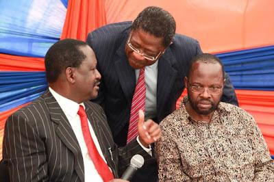 Raila Odinga with Amos Wako. PHOTO   Courtesy