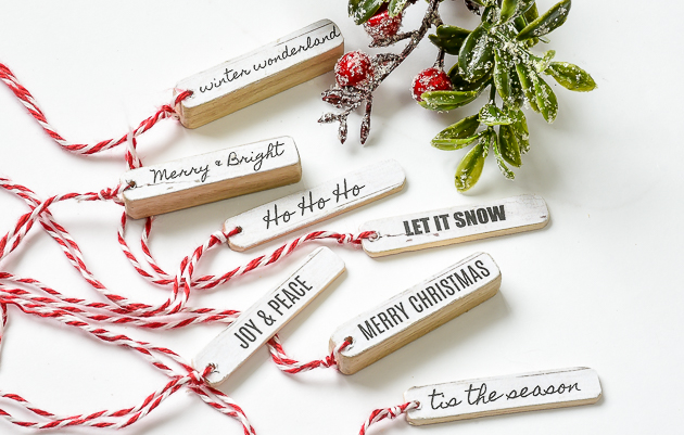 Free holiday printable, christmas, holiday tags, easy wood tags, printable
