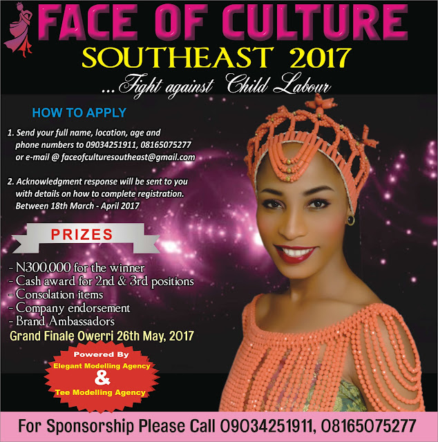 Elegant Modelling Agency in collaboration with Tee Modelling Agency presents......The first edition of face of culture southeast 2017