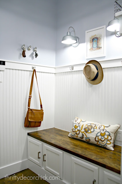 Classic mudroom with white beadboard