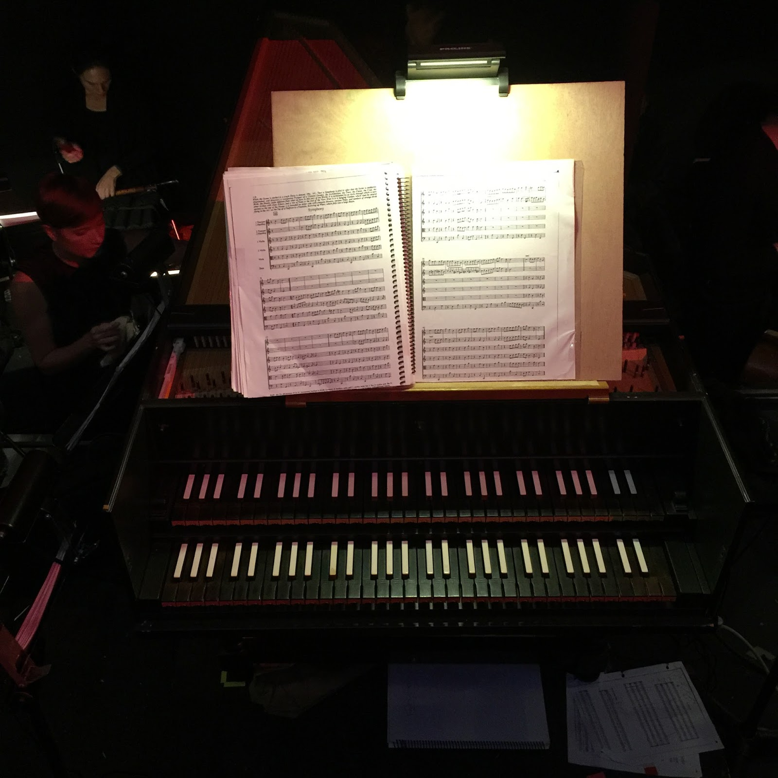 IN REVIEW: the harpsichord played by harpsichordist and conductor JORY VINIKOUR in Chicago Opera Theater's production of Henry Purcell's FAIRY QUEEN, 11 November 2016 [Photo by the author]