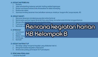 RKH KB Kelompok B Usia 3-4 Tahun Semester 2 Tema 1-8 Kurikulum 2013