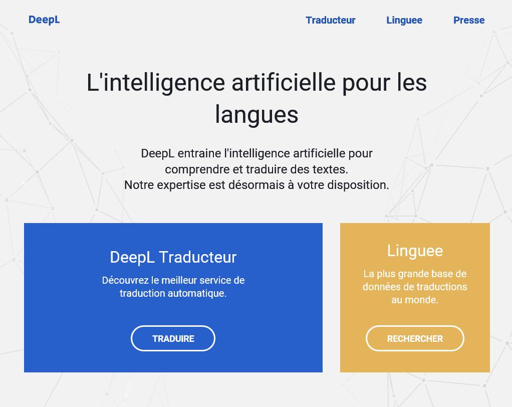 deepl l 39 intelligence artificielle pour les langues. Black Bedroom Furniture Sets. Home Design Ideas