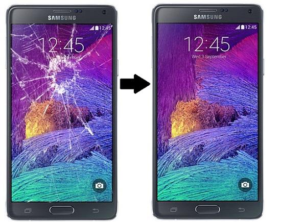 Màn hình galaxy note 4 trước và sau khi thay màn hình