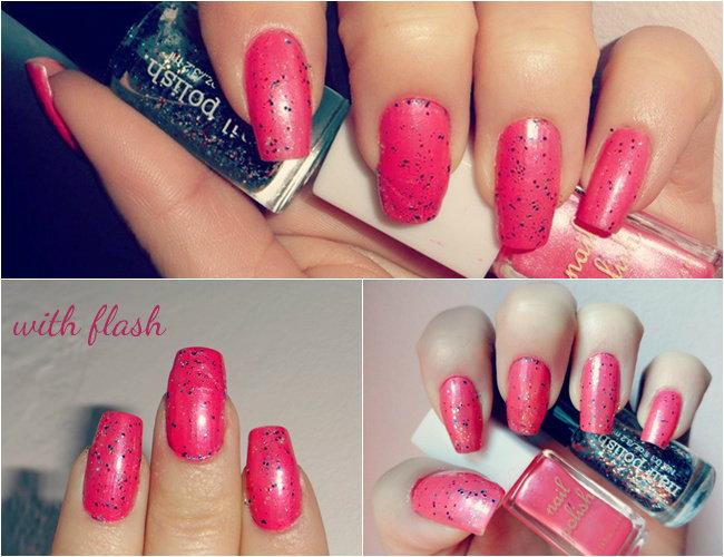 koralno roze lak za nokte sa sljokicama, letnje ideje za nokte