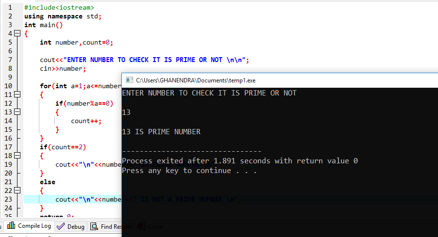 C++ Program To Find Number Is Prime Or Not