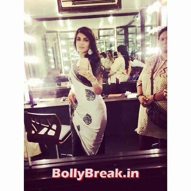 shiny Doshi hot selfie photo in white saree at wedding
