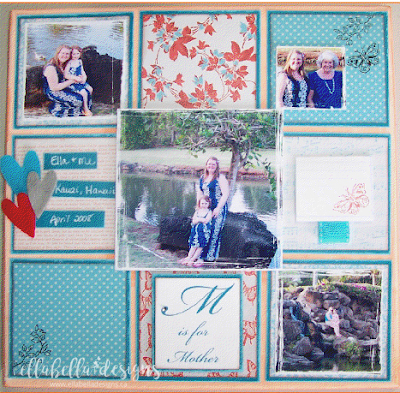 Mother's Day Altered Scrapbooking Canvas DIY Home Decor, Mother's Day Gift, Free Tutorial Printable by Ellabella Designs