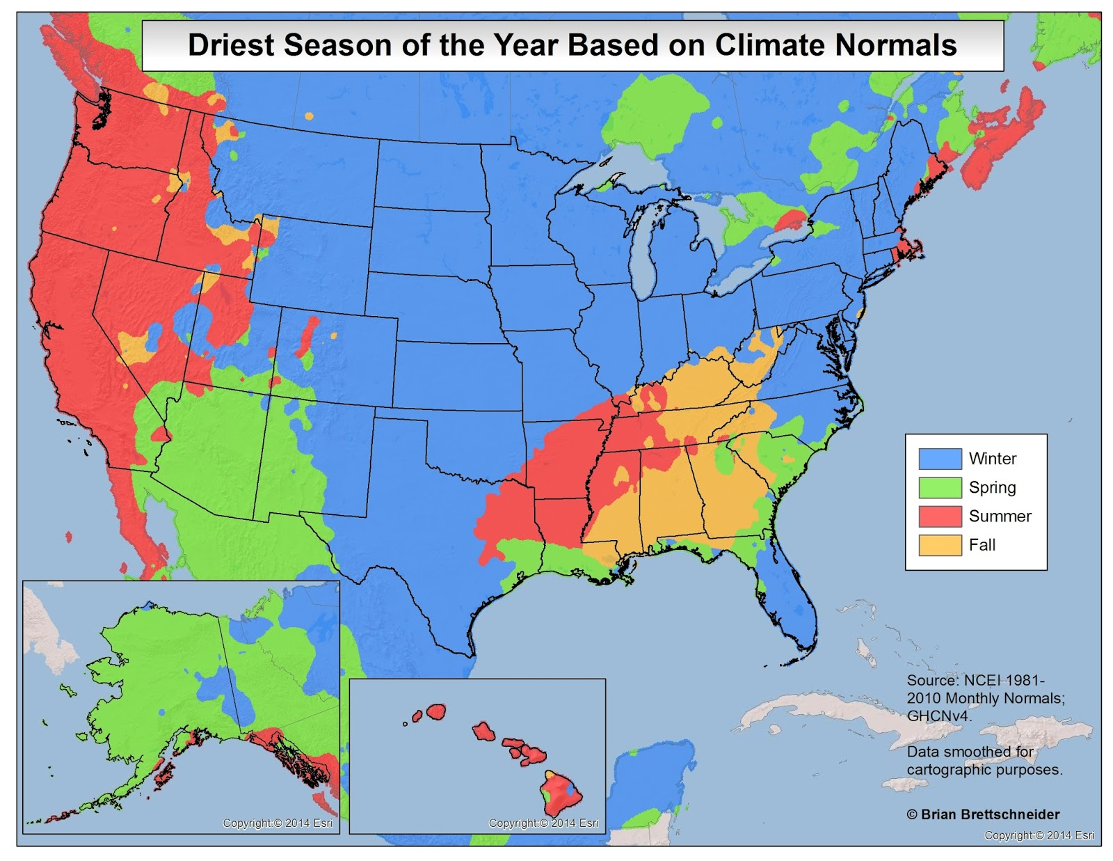 Driest Season of the year based on climate normals